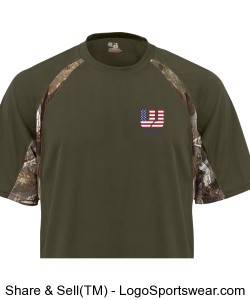 Adult Hook Tee with Camo Color Blocking Design Zoom